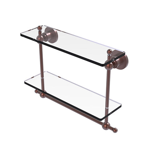 Allied Brass Astor Place Collection 16 IN Two Tiered Glass Shelf With Integrated Towel Bar