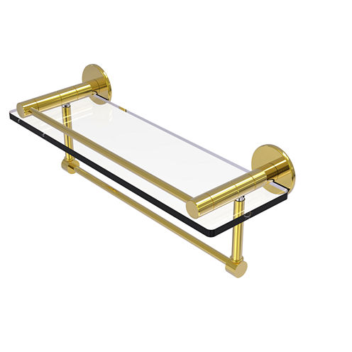 Allied Brass Fresno Collection 16 IN Glass Shelf With Vanity Rail And Integrated Towel Bar