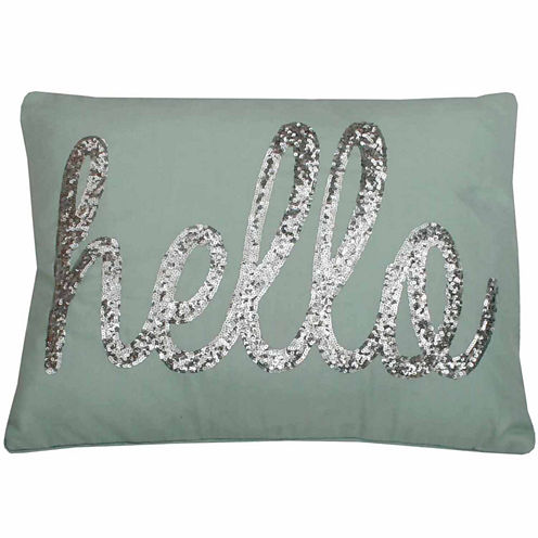Thro by Marlo Lorenz Hello Sequin Script Throw Pillow