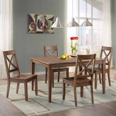 Dining Possibilities 5 Piece Rectangular Table With X Back Chairs
