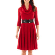 Robbie Bee® 3/4-Sleeve Infinity Scarf Belted Sweater Dress