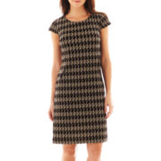 R&K Originals® Cap-Sleeve Houndstooth Shift Dress