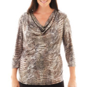MSK 3/4-Sleeve Animal Print Top - Plus