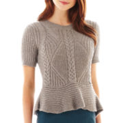 Worthington® Short-Sleeve Cable Peplum Sweater - Tall