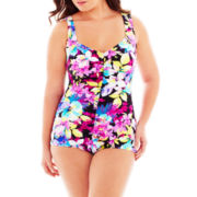 Azul By Maxine of Hollywood® Shirred-Front One-Piece Spa Swimsuit - Plus