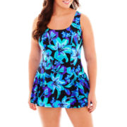 Azul by Maxine of Hollywood Princess Seam 1-Piece Swimdress - Plus