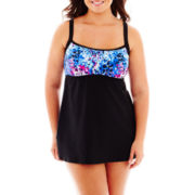 Delta Burke® Falling Petals 1-Piece Peasant Swimdress - Plus