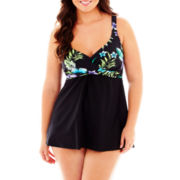 Delta Burke® Cayman Islands Twist-Front 1-Piece Swimdress - Plus