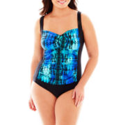 Delta Burke® Daytripper 1-Piece Twist Mio Tank Swimsuit - Plus