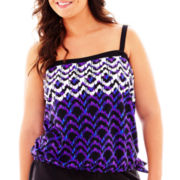 Azul by Maxine of Hollywood Bandeau Blouson Tankini Swim Top - Plus