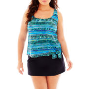 Azul by Maxine of Hollywood Tankini Swim Top or Skirted Bottoms - Plus