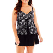 Delta Burke® Flyaway Tankini Swim Top or Skirted Bottoms - Plus