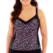 Delta Burke® Hot To Dot Framed Tankini Swim Top - Plus