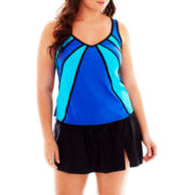 Delta Burke® Colorblock Tankini Swim Top or Skirted Bottoms - Plus