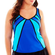 Delta Burke® Colorblock Diagonal Tankini Swim Top - Plus
