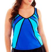 Delta Burke® Colorblock Diagonal Tankini Swim Top - Plus