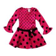 Youngland® Pink Dot Bell-Sleeve Dress - Girls 2t-6