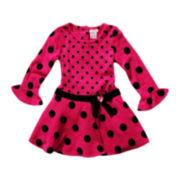 Youngland® Pink Dot Bell-Sleeve Dress - Girls 2t-6