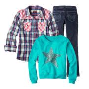 Arizona Long-Sleeve Shirt, Sweatshirt or Bootcut Jeans - Girls
