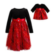 Dollie & Me Long-Sleeve Velour and Plaid Dress – Girls 7-16