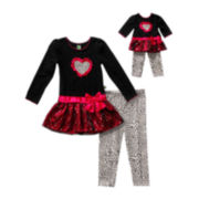 Dollie & Me 2-pc. Long-Sleeve Top and Legging Set with Doll Garment – Girls 7-12