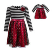 Dollie & Me Long-Sleeve Knit Dress – Girls 7-16