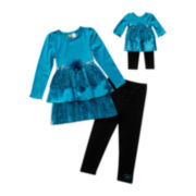 Dollie & Me 2-pc. Long-Sleeve Tiered Dress and Leggings Set with Doll Garment –