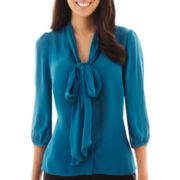 Worthington® 3/4-Sleeve Tie-Neck Blouse - Petite
