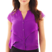 Worthington® Cap-Sleeve Asymmetrical Ruffle Blouse