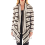 Alyx® Striped Open-Front Long Cardigan Sweater - Plus