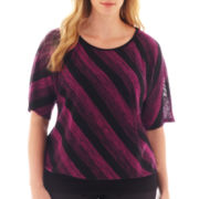 Alyx® Elbow-Sleeve Striped Banded Sweater