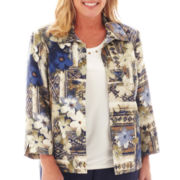 Alfred Dunner® Amsterdam Avenue Geo-Floral Patch Print Jacket - Plus