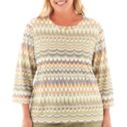 Alfred Dunner® Amsterdam Avenue 3/4-Sleeve Glitter Biadere Knit Top - Plus