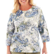 Alfred Dunner® Amsterdam Avenue 3/4-Sleeve Paisley Textured Knit Top - Plus