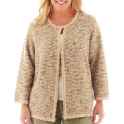 Alfred Dunner® Amsterdam Avenue 3/4-Sleeve Textured Cardigan Sweater - Plus
