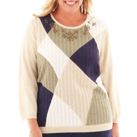 Alfred Dunner Amsterdam Avenue 3/4-Sleeve Abstract Colorblock Sweater - Plus