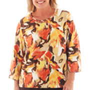 Alfred Dunner® Social Circle 3/4-Sleeve Abstract Floral Knit Top - Plus