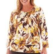 Alfred Dunner® Social Circle 3/4-Sleeve Floral Splash Sweater - Plus