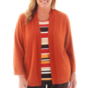Alfred Dunner® Social Circle 3/4-Sleeve Solid Layered Top - Plus