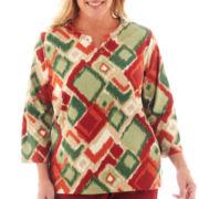 Alfred Dunner® Avondale Road 3/4-Sleeve Ikat Diamond Print Knit Top - Plus