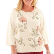 Alfred Dunner® Avondale Road 3/4-Sleeve Embroidered Floral Knit Top - Plus
