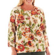 Alfred Dunner® Avondale Road Floral Leaf-Print Sweater - Plus