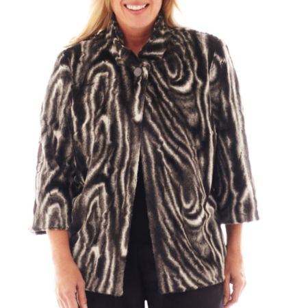 Alfred Dunner Manhattan Skyline 3/4-Sleeve Faux-Fur Jacket - Plus