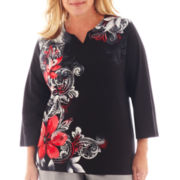 Alfred Dunner® Manhattan Skyline Asymmetric Scroll Floral Knit Top - Plus