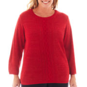 Alfred Dunner® Manhattan Skyline 3/4-Sleeve Lurex® Sweater - Plus