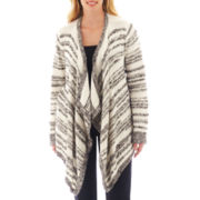 a.n.a® Long-Sleeve Striped Flyaway Cardigan - Plus
