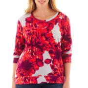 a.n.a® Long-Sleeve Floral Sweatshirt - Plus