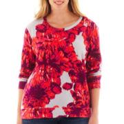 a.n.a® Long-Sleeve Floral Sweatshirt - Plus