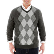 Claiborne® V-Neck Argyle Sweater–Big & Tall