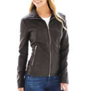 Worthington® Wing Collar Faux-Leather Scuba Jacket
